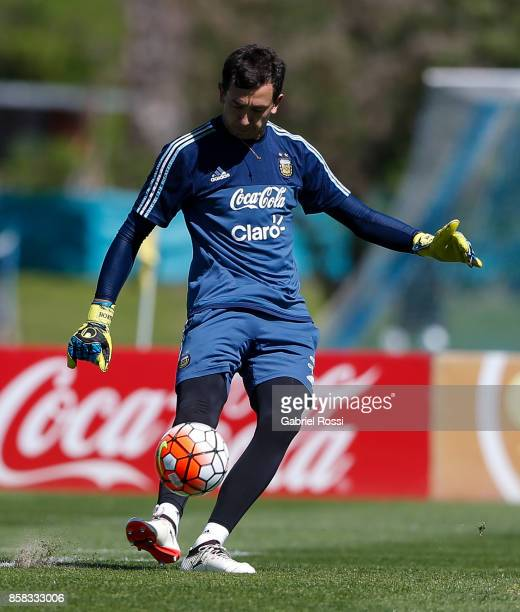 Agustin Marchesin of Argentina kicks the ball during a training session at Argentine Football Association 'Julio Humberto Grondona' training camp on...