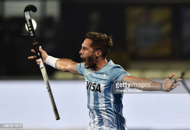 Agustin Mazzilli of Arentina celebrates after scoring a goal during the FIH Men's Hockey World Cup Pool A match between New Zealand and Argentina at...