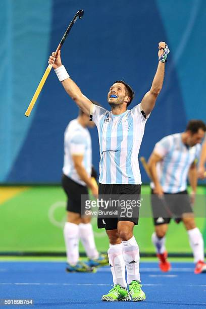 Agustin Mazzilli of Argentina celebrates winning the Men's Hockey Gold Medal match between Belgium and Argentina on Day 13 of the Rio 2016 Olympic...