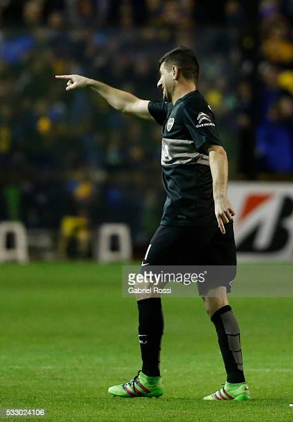 Agustin Orion goalkeeper of Boca Juniors celebrates after winning a second leg match between Boca Juniors and Nacional as part of quarter finals of...