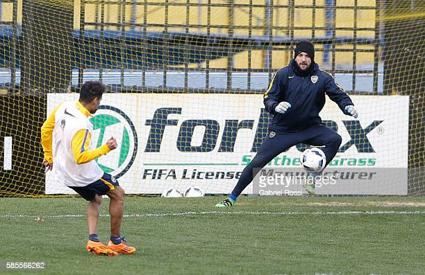 Agustin Orion of Boca Juniors in action during a Boca Juniors Training Session at Alberto J Armando Stadium on August 02 2016 in Buenos Aires...