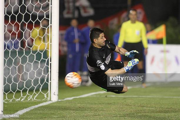 Agustin Orion of Boca Juniors makes a save on a penalty kick during a first leg match between Cerro Porteno and Boca Juniors as part of round of 16...