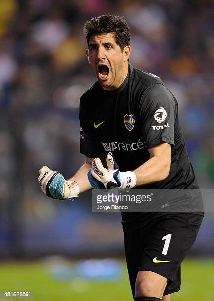 Agustin Orion of Boca Juniors reacts during a match between Boca Juniors and River Plate as part of 10th round of Torneo Final 2014 at Alberto J...