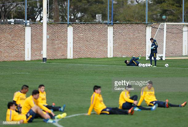 Agustin Orion of Boca Juniors stretches during a Boca Juniors Training Session at Alberto J Armando Stadium on August 02 2016 in Buenos Aires...