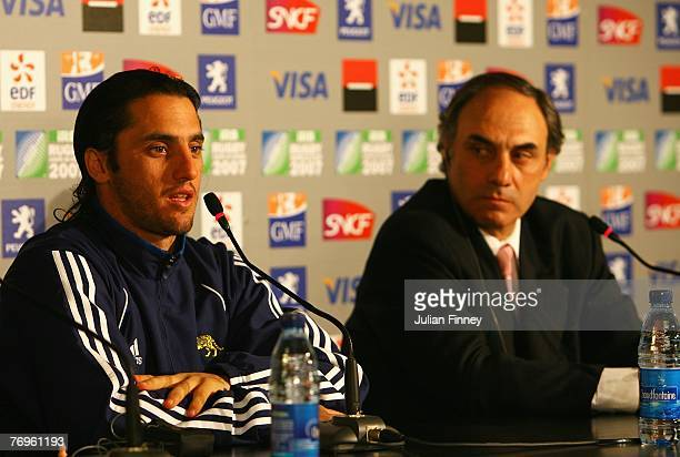 Agustin Pichot and Argentina Head Coach Marcelo Loffreda answer questions from the media following Match Twenty Six of the Rugby World Cup 2007...