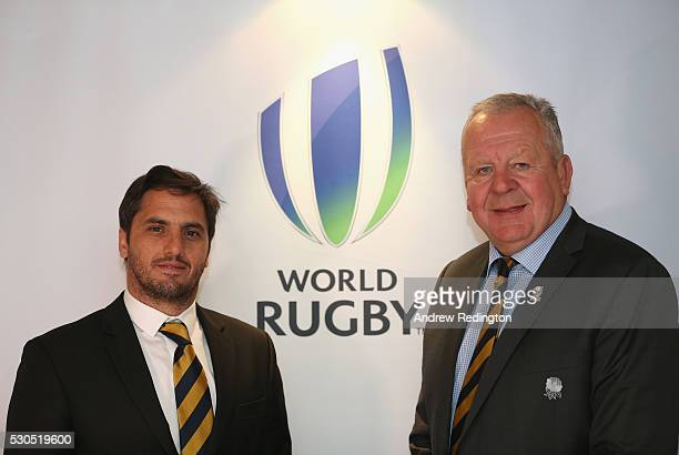Agustin Pichot and Bill Beaumont pose for a photograph during a media conference to introduce the new World Rugby Chairman and ViceChairman on May 11...