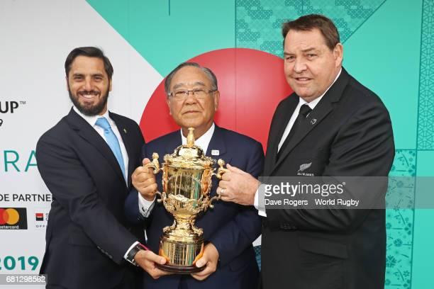 Agustin Pichot ViceChairman of World Rugby via Getty Images Fujio Mitarai Chairman of the RWC 2019 Organising Committee and Steve Hansen Head Coach...