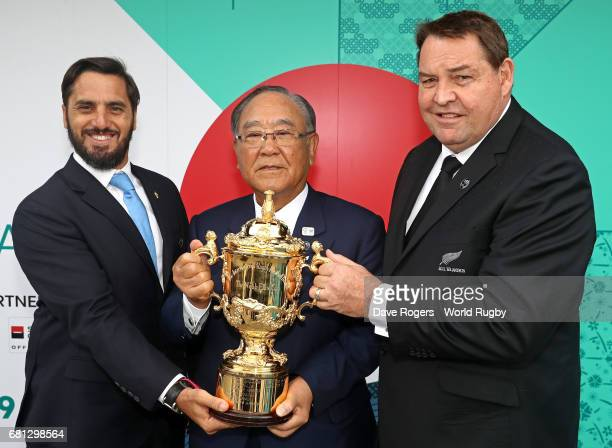 Agustin Pichot ViceChairman of World Rugby Fujio Mitarai Chairman of the RWC 2019 Organising Committee and Steve Hansen Head Coach of New Zealand...