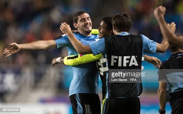 Agustin Rogel of Uruguay celebrates after team mate Nicolas Schiappacasse of Uruguay scored his teams first goal during the FIFA U20 World Cup Korea...