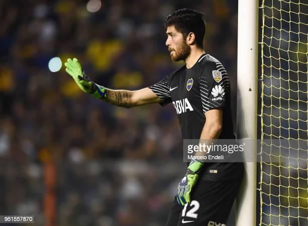 Agustin Rossi goalkeeper of Boca Juniors gestures during a match between Boca Juniors and Palmeiras as part of Copa CONMEBOL Libertadores 2018 at...