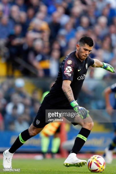 Agustin Rossi goalkeeper of Boca Juniors kicks the ball during a match between Boca Juniors and River Plate as part of Superliga 2018/19 at Estadio...