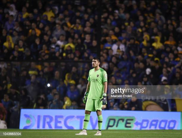 Agustin Rossi goalkeeper of Boca Juniors looks on during a match between Boca Juniors and Colon as part of Superliga 2018/19 at Estadio Alberto J...