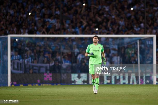 Agustin Rossi goalkeeper of Boca Juniors looks on during a match between Racing Club and Boca Juniors as part of Superliga 2018/19 at Juan Domingo...