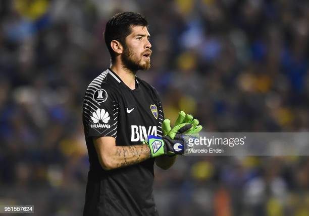 Agustin Rossi goalkeeper of Boca Juniors looks on during a match between Boca Juniors and Palmeiras as part of Copa CONMEBOL Libertadores 2018 at...