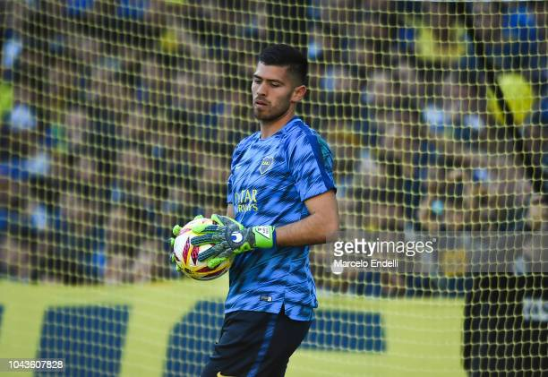 Agustin Rossi goalkeeper of Boca Juniors looks on during a warm up before a match between Boca Juniors and River Plate as part of Superliga 2018/19...