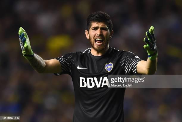 Agustin Rossi goalkeeper of Boca Juniors reacts during a match between Boca Juniors and Palmeiras as part of Copa CONMEBOL Libertadores 2018 at...