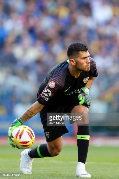 Agustin Rossi goalkeeper of Boca Juniors throws the ball during a match between Boca Juniors and River Plate as part of Superliga 2018/19 at Estadio...