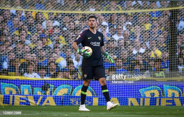 Agustin Rossi of Boca Juniors holds the ball during a match between Boca Juniors and River Plate as part of Superliga 2018/19 at Estadio Alberto J...