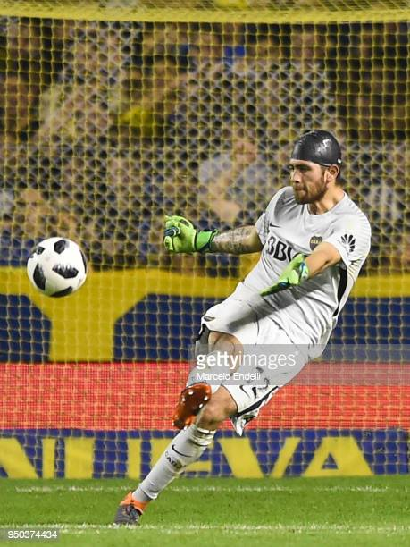Agustin Rossi of Boca Juniors kicks the ball during a match between Boca Juniors and Newell's Old Boys as part of Argentine Superliga 2017/18 at...