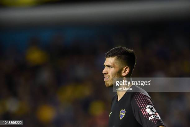 Agustin Rossi of Boca Juniors looks on during a match between Boca Juniors and River Plate as part of Superliga 2018/19 at Estadio Alberto J Armando...