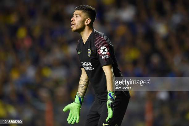 Agustin Rossi of Boca Juniors reacts during a match between Boca Juniors and River Plate as part of Superliga 2018/19 at Estadio Alberto J Armando on...