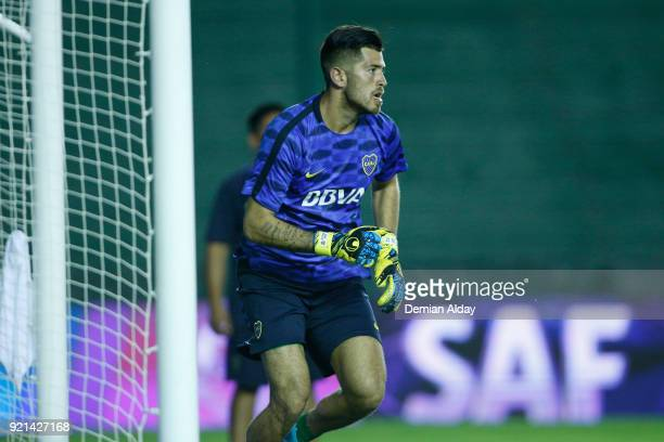 Agustin Rossi of Boca Juniors warms up prior a match between Banfield and Boca Juniors as part of Argentina Superliga 2017/18 on February 18 2018 in...