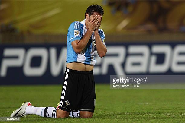 Agustin Vuletich of Argentina reacts after during the FIFA U20 World Cup 2011 quarter final match between Portugal and Argentina at Estadia Jaime...
