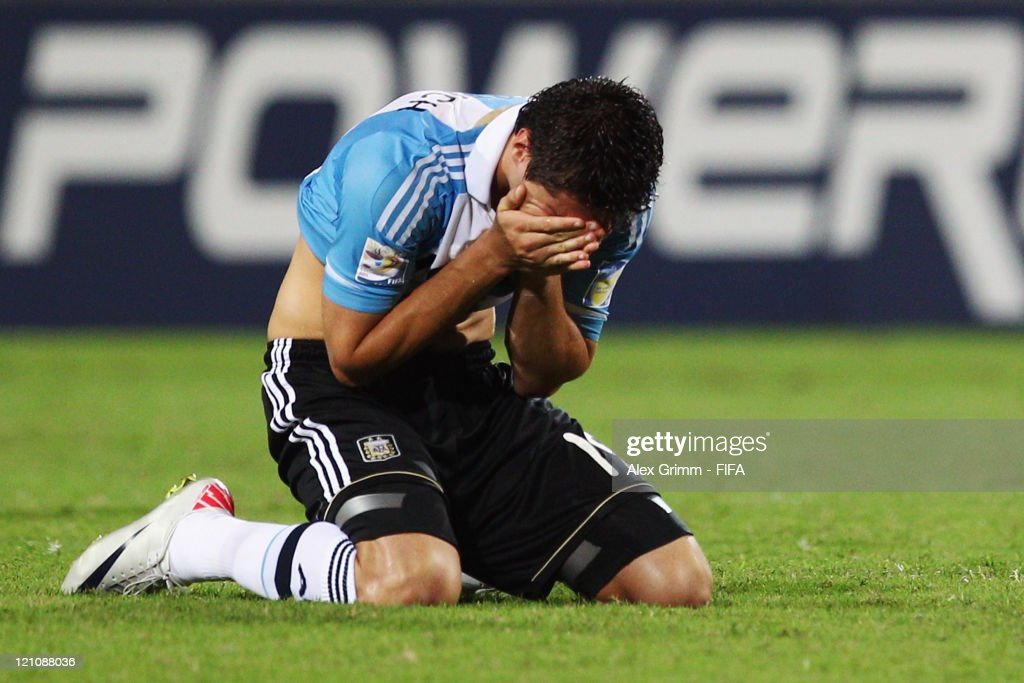 Agustin Vuletich of Argentina reacts after the FIFA U-20 World Cup 2011 quarter final match between Portugal and Argentina at Estadia Jaime Moron Leon on August 13, 2011 in Cartagena, Colombia.