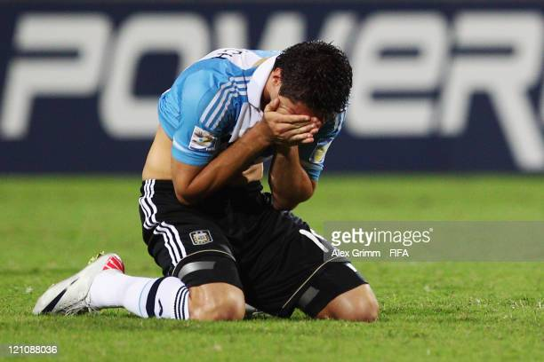 Agustin Vuletich of Argentina reacts after the FIFA U20 World Cup 2011 quarter final match between Portugal and Argentina at Estadia Jaime Moron Leon...