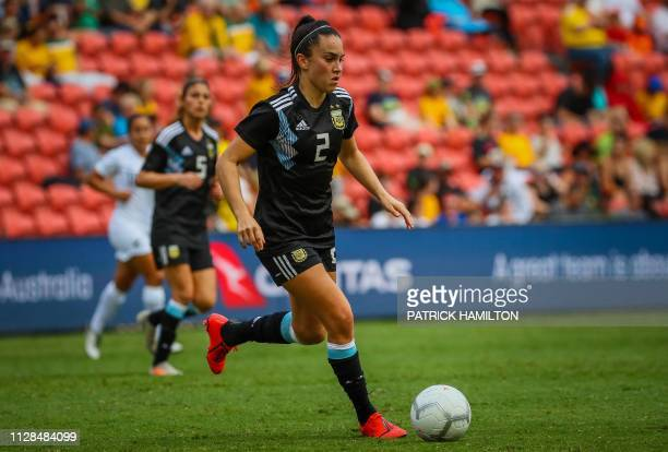 Agustina Barroso of Argentina controls the ball during the Women's Cup of Nations football match between New Zealand and Argentina in Brisbane on...