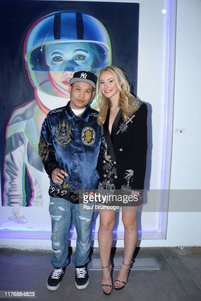 Agustine Chen and Alexandra Houx Grounds attend Delusions of the Wild Solo Exhibition By Alexandra Houx Grounds at 213 Bowery on October 17 2019 in...