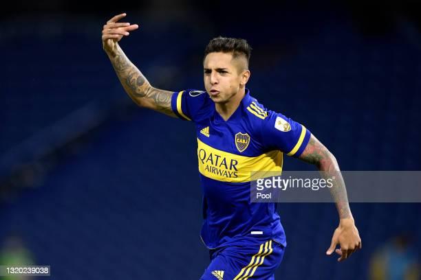 Agustín Almendra of Boca Juniors celebrates after scoringthe first goal of his team during a group C match of Copa CONMEBOL Libertadores 2021 between...