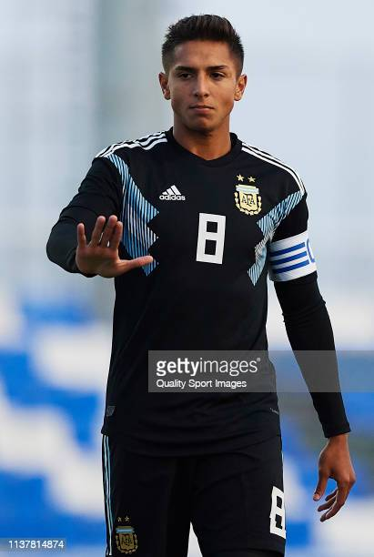 Agustín Almendra of the Argentina reacts during the U20 International friendly match between Argentina and Japan at Pinatar Arena on March 23 2019 in...