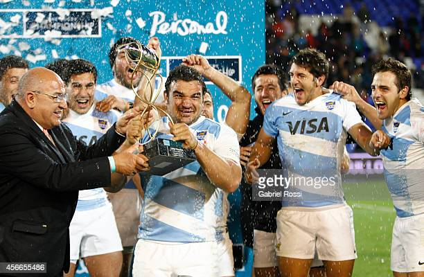 Agustín Creevy captain of Argentina receives the trophy after winning a match between Argentina Los Pumas and Australia Wallabies as part of The...