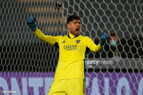 Agustín Rossi of Boca Juniors celebrates after saving a penalty kick during the shootout after a round of sixteen match of Copa Argentina 2021...