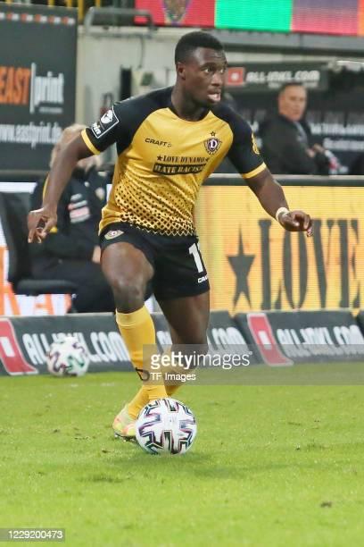 Agyemang Diawusie of SG Dynamo Dresden controls the ball during the 3 Liga match between Dynamo Dresden and FSV Zwickau at RudolfHarbigStadion on...