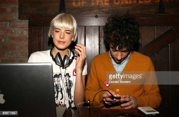 Agyness Deyn and Albert Hammond Jr DJ together at The Humane Society of the United States Cool vs Cruel Awards 2008 at The Bowery Hotel on November...