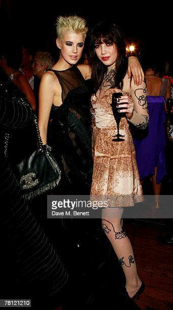 Agyness Deyn and Daisy Lowe attend the British Fashion Awards at the Lawrence Hall on November 27 2007 in London England