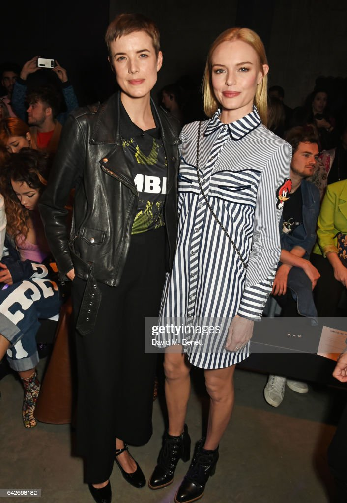 Agyness Deyn (L) and Kate Bosworth attend the House of Holland show during the London Fashion Week February 2017 collections on February 18, 2017 in London, England.