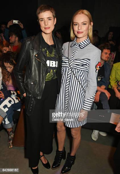 Agyness Deyn and Kate Bosworth attend the House of Holland show during the London Fashion Week February 2017 collections on February 18, 2017 in...