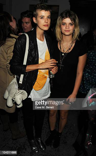 Agyness Deyn and Pixie Geldof attend the afterparty following the Giles LFW Spring/Summer 2011 fashion show at Bistrotheque on September 20 2010 in...