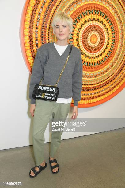 "Agyness Deyn attends a private view of ""Damien Hirst: Mandalas"" at White Cube Gallery on September 19, 2019 in London, England."