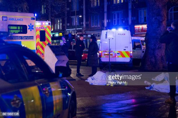 Agyness Deyn seen filming in Shepherd's Bush for her new BBC crime drama series 'Hard Sun' on March 31 2017 in London England