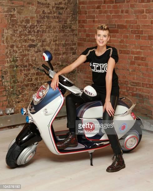 Agyness Deyn unveils the New Mini Scooter E Concept at The Vinyl Factory on September 23 2010 in London England