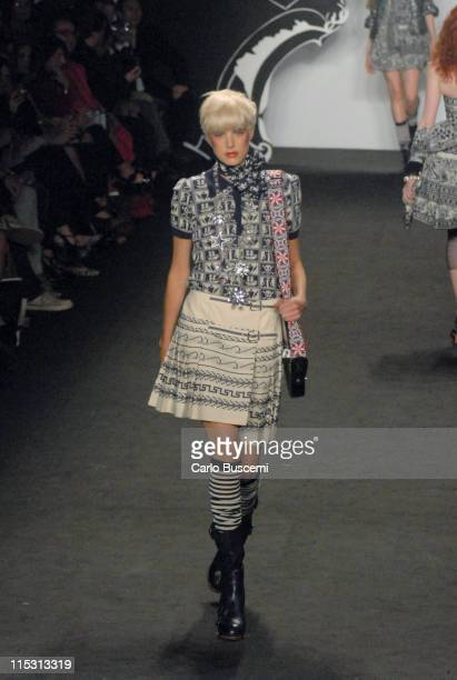 Agyness Deyn wearing Anna Sui Spring 2007 during Olympus Fashion Week Spring 2007 - Anna Sui - Runway in New York City, New York, United States.