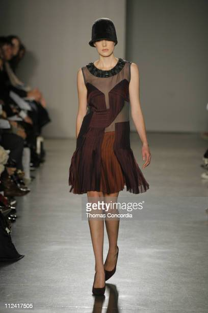 Agyness Deyn wearing Proenza Schouler Fall 2007 during Mercedes-Benz Fashion Week Fall 2007 - Proenza Schouler - Runway at Milk Gallery in New York...