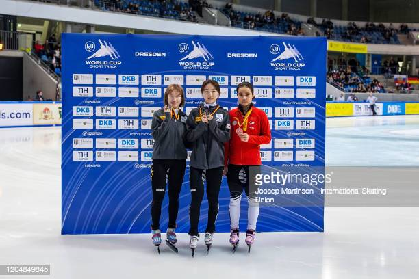Ah Rum Noh of Korea Min Jeong Choi of Korea and Yu Tong Han of China pose in the Ladies 1500m medal ceremony during day 1 of the ISU World Cup Short...