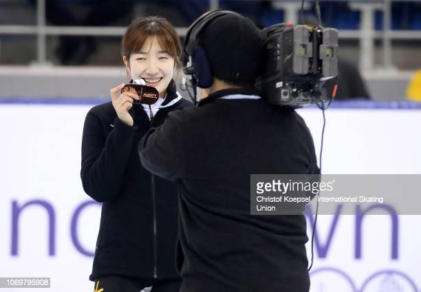 Ah Rum Noh of South Korea celebrates her third place of the ladies 1000 meter final A race during the ISU Short Track World Cup Day 1 at Halyk Arena...