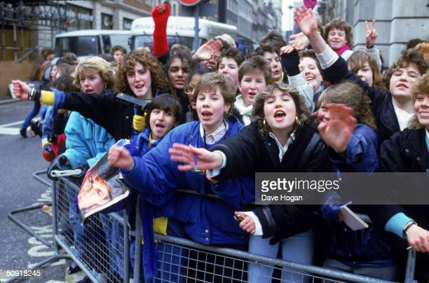 AHa fans line the streets of London hoping for a glimpse of their idols circa 1985