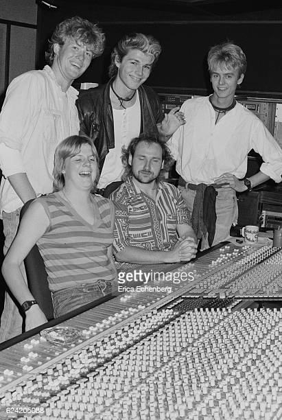 Aha with prodcuer Tony Mansfield in the control room during the recording of their first album 'Hunting High And Low' at Eel Pie Studios Twickenham...